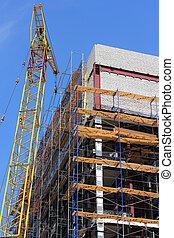 grue, -, sous, house., construction bâtiments
