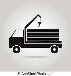 grue, vecteur, camion, illustration