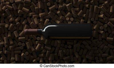 grue, vin, coup, sommet, bouchons, bouteille, vue, sur