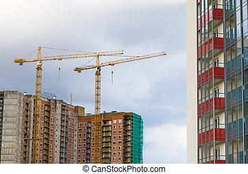 grues, élevé, construction, bâtiments., résidentiel