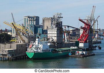 grues, bateau, grain, terminal, ascenseur