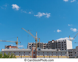grues, beaucoup, ciel, site, contre, construction