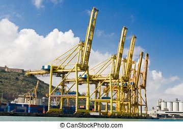 grues, cargaison, industriel, port