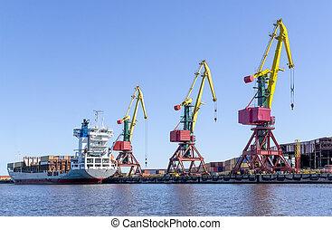 grues, cargaison, port