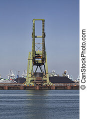 grues, charbon, rotterdam, port
