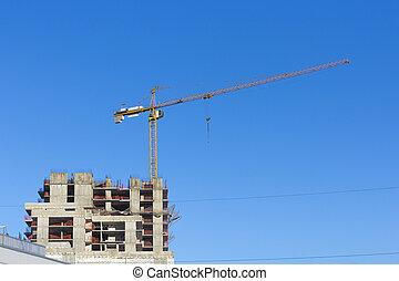 grues, ciel, site, contre, deux, construction