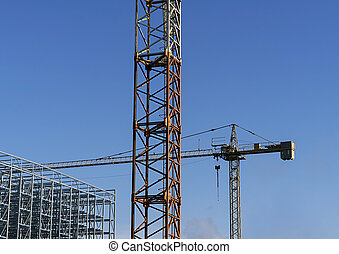 grues, clair, construction, ciel, behind.