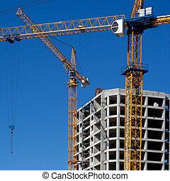 grues, construction, deux