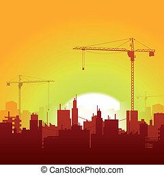 grues, construction, levers de soleil, fond