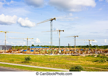 grues, construction, stade