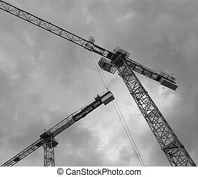 grues, devant, construction, dramatique, sky.