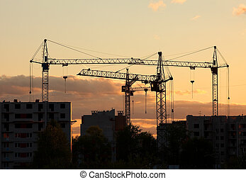grues, emmagasiner construction, coucher soleil, site