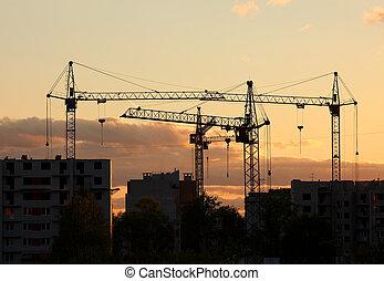 grues, emmagasiner construction, coucher soleil, site