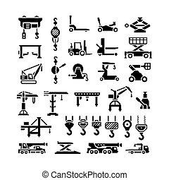 grues, ensemble, icônes, crochets, equipments, treuils,...