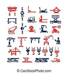 grues, ensemble, icônes, equipments, treuils, levage