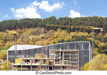 grues industrielles, site, panoramique, construction, vue