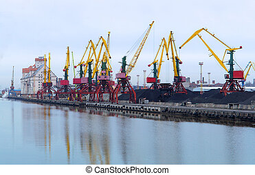 grues, port, cargaison, chargement, terminal, charbon