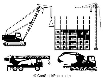 grues, silhouettes, construction, camions