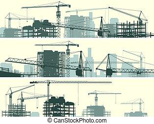 grues, site, bâtiment.