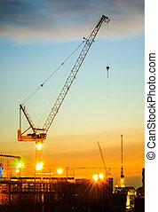 grues, site construction, derrick