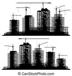 grues, site, construction, silhouettes, ensemble, bâtiments.