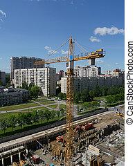grues, tour, site construction