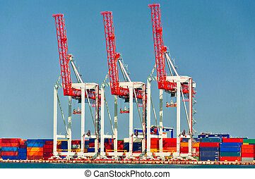 grues, trois, port