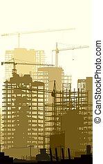 grues, vertical, illustration, site, construction, bâtiments.