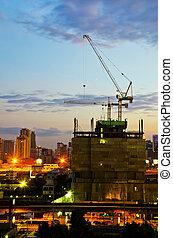 grues, ville, industriel, construction