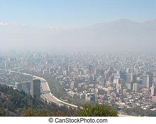 grueso, niebla tóxica, encima, santiago, de, chile