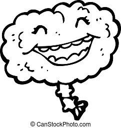 grueso, reír, caricatura, cerebro
