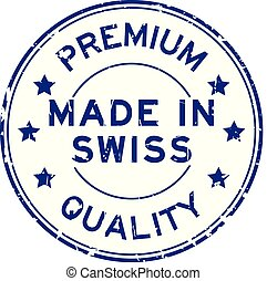 Grugne blue premium quality made in swiss round rubber seal stamp on white background
