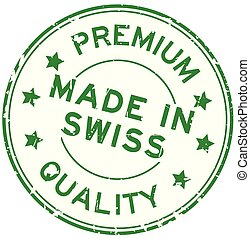 Grugne green premium quality made in swiss round rubber seal stamp on white background