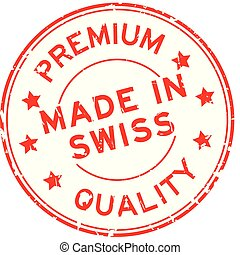 Grugne red premium quality made in swiss round rubber seal stamp on white background