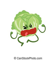 Grumpy abbage, Cute Vegetable Character with Funny Face Vector Illustration