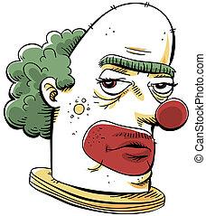 Grumpy Clown - A cartoon of a serious, unfriendly clown.