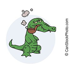 Grumpy crocodile smoking pipe, hand drawn cartoon image....