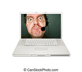 Grumpy Customer Service Man on Laptop Screen Isolated on a...