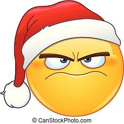 Grumpy emoticon with santa hat