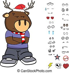 grumpy funny deer kid cartoon xmas collection set