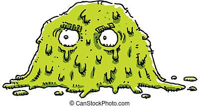 A cartoon of a grumpy, green blob of goo.