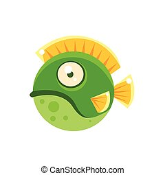 Grumpy Green Round Spotted Fantastic Aquarium Tropical Fish Cartoon Character