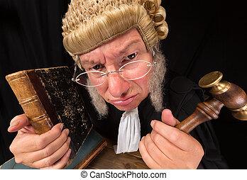 Grumpy judge - Grumpy old judge in extreme wide angle...