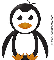 Grumpy Little Penquin Sitting Isolated on White with Clipping Path Illustration