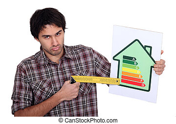Grumpy man pointing to the lower end of an energy efficiency rating scale with a try square