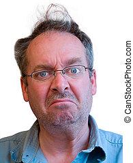 Grumpy Man with Unkempt Hair - Portrait of a grumpy man with...