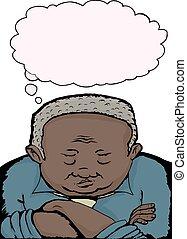 Grumpy Old Man - Cartoon of grumpy old man with folded arms