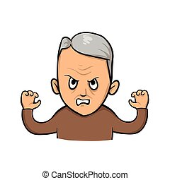 Grumpy old man. Flat vector illustration. Isolated on white...