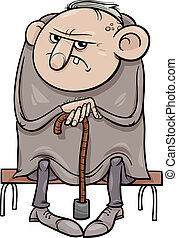 grumpy, oud, spotprent, illustratie, man