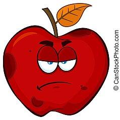 Grumpy Rotten Red Apple Fruit Cartoon Mascot Character